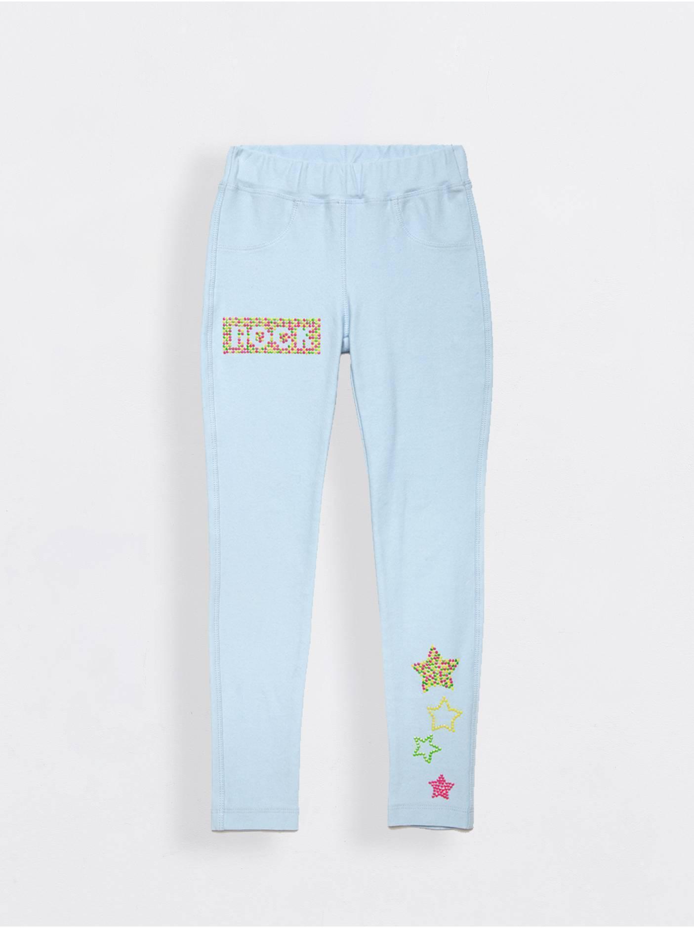 Фото 3 - Леггинсы для девочек ⭐️ Джеггинсы с ярким рисунком из неоновых стразов ROCK STAR ⭐️ цвет crystal blue