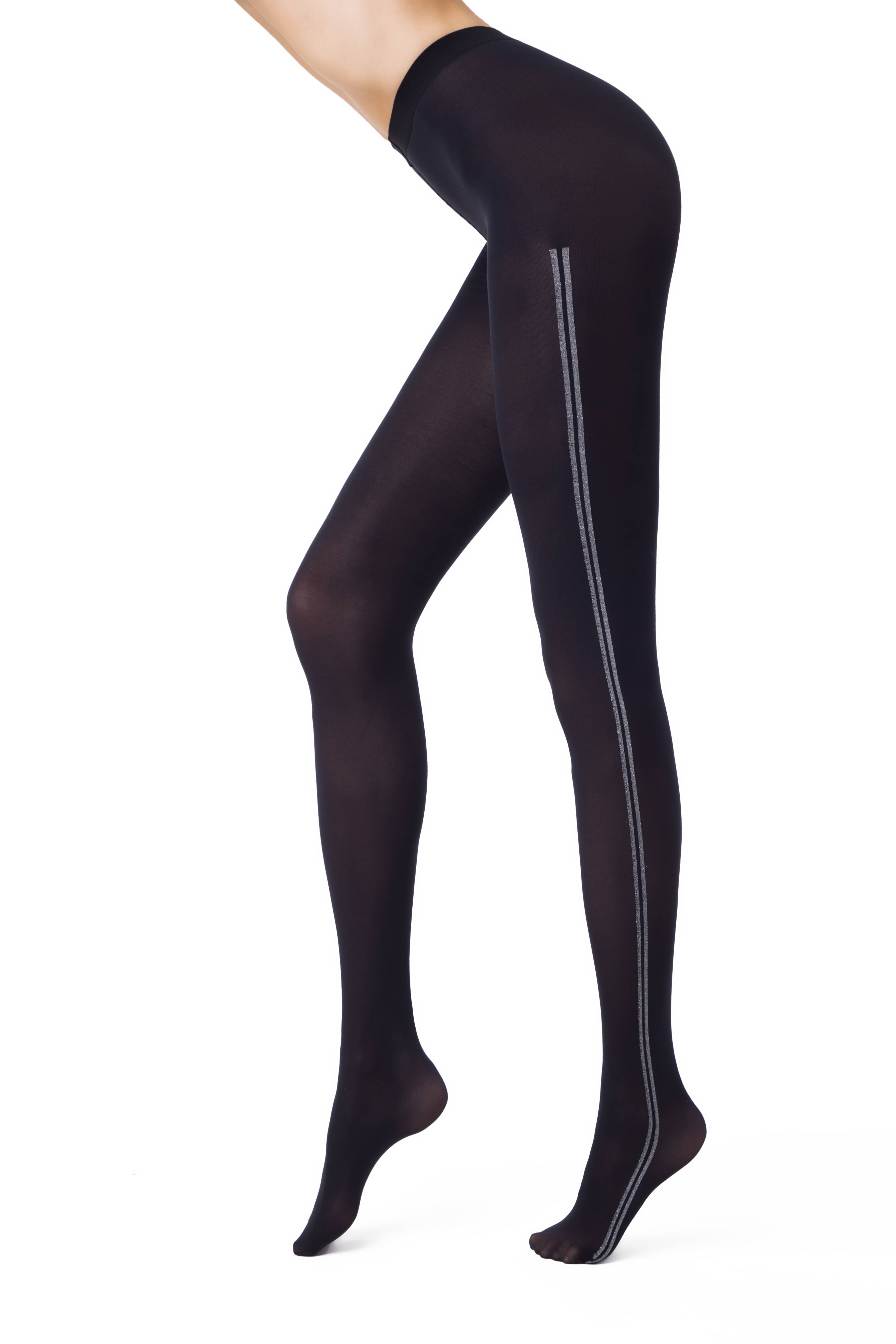 Фото 2 - Колготки женские ⭐️ Колготки с лампасами из люрекса MOVE Lycra® ⭐️ цвет nero
