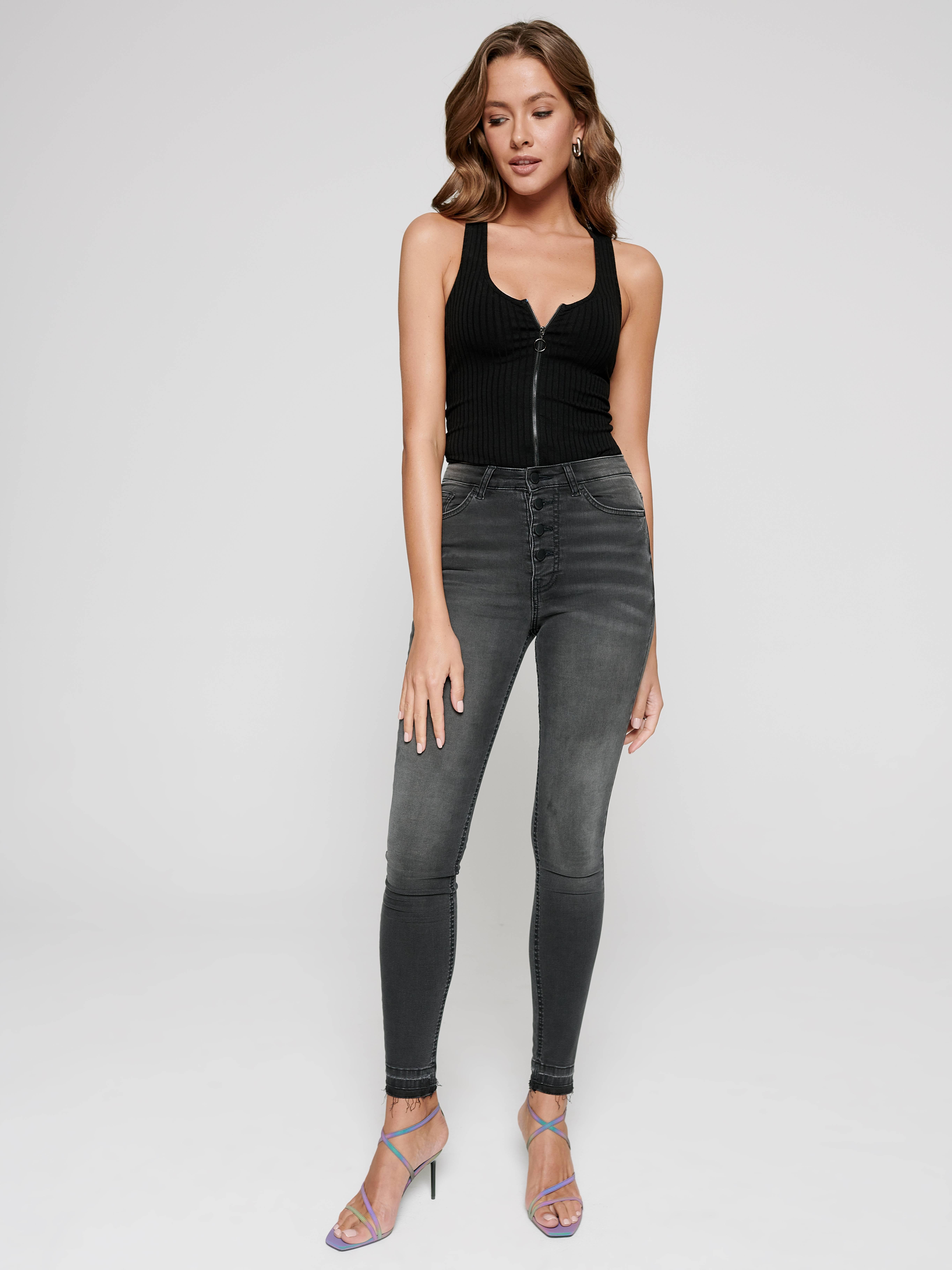 Фото 2 - Брюки джинсовые ⭐️ Моделирующие eco-friendly джинсы skinny с высокой посадкой CON-225 Lycra® ⭐️ цвет washed black