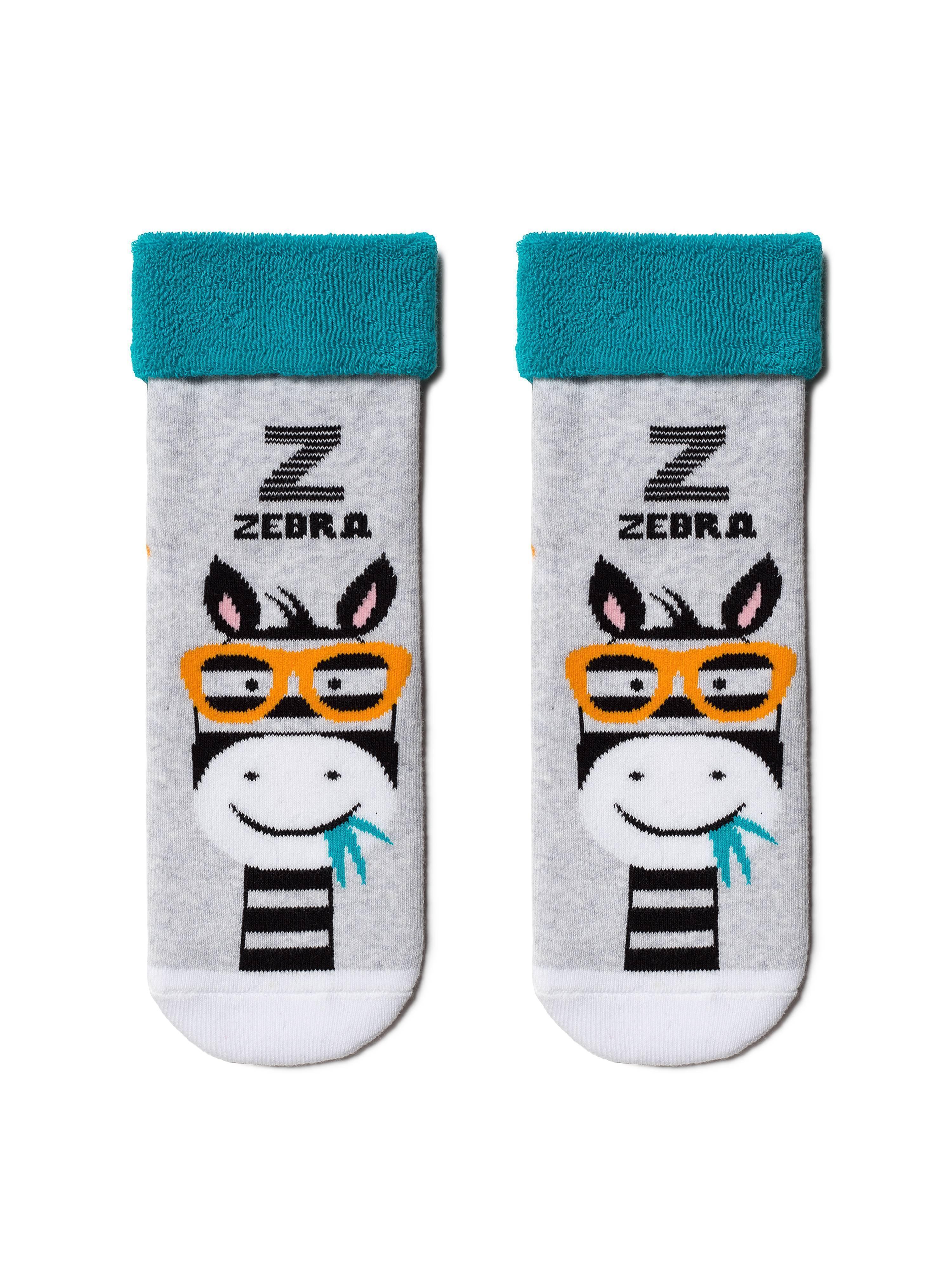 Фото - Носки детские ⭐️ Махровые носки SOF-TIKI с отворотом ⭐️ цвет светло-серый-бирюза