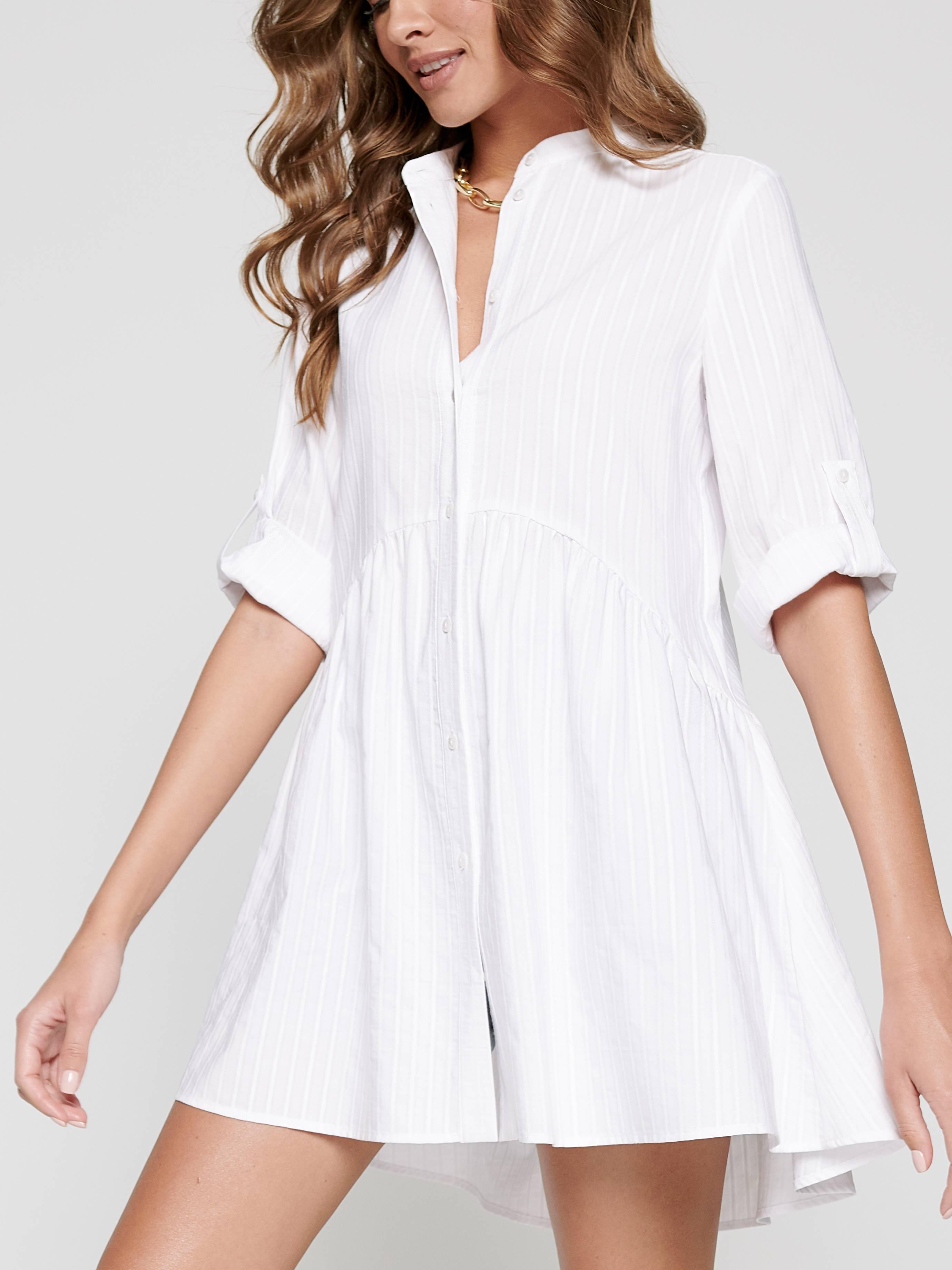 Туника женская ⭐️ Туника-рубашка А-силуэта из хлопка премиального качества LTH 1101 ⭐️