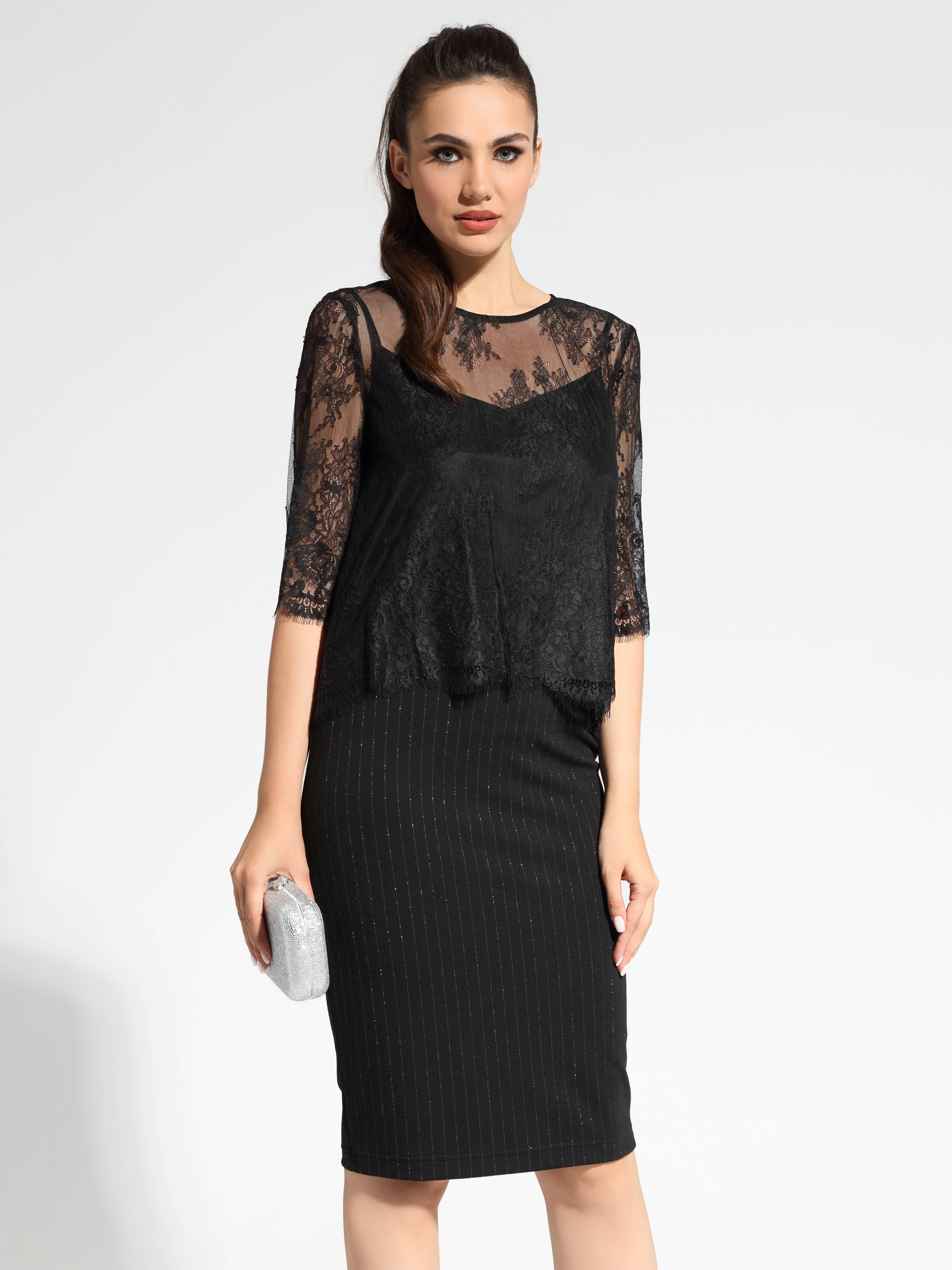 Фото 2 - Блузку женская ⭐️ Черная вечерняя блузка LBL 1060 ⭐️ цвет royal black