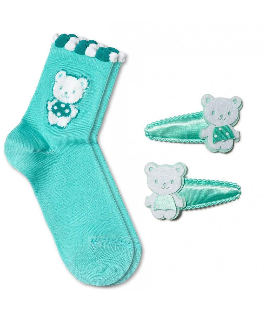 Носки детские ⭐️ Хлопковые носки TIP-TOP с заколками для волос ⭐️