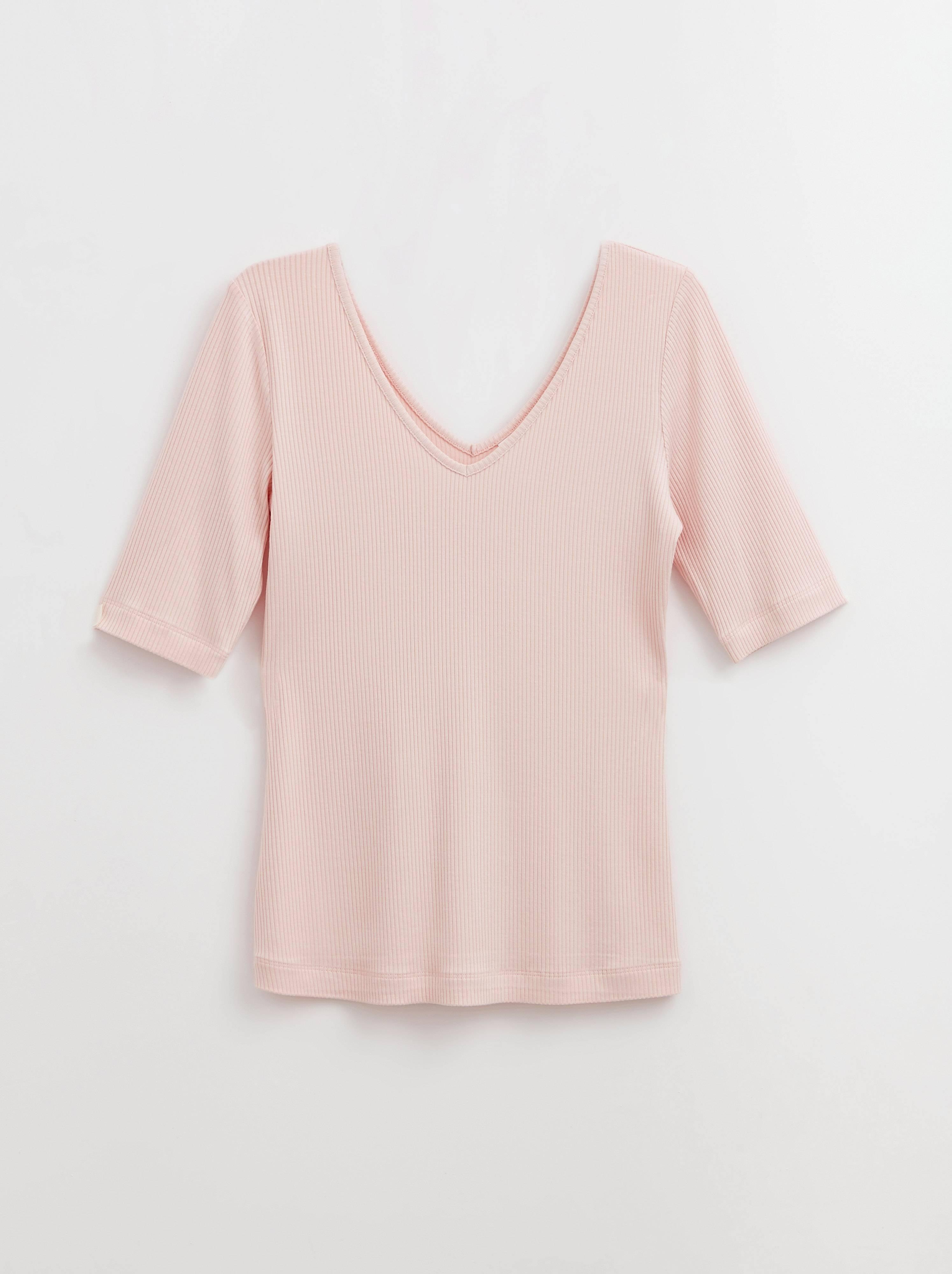 Джемпер женский ⭐️ Топ женский в рубчик из премиальной вискозы LD 1165 бледно-розовый ⭐️