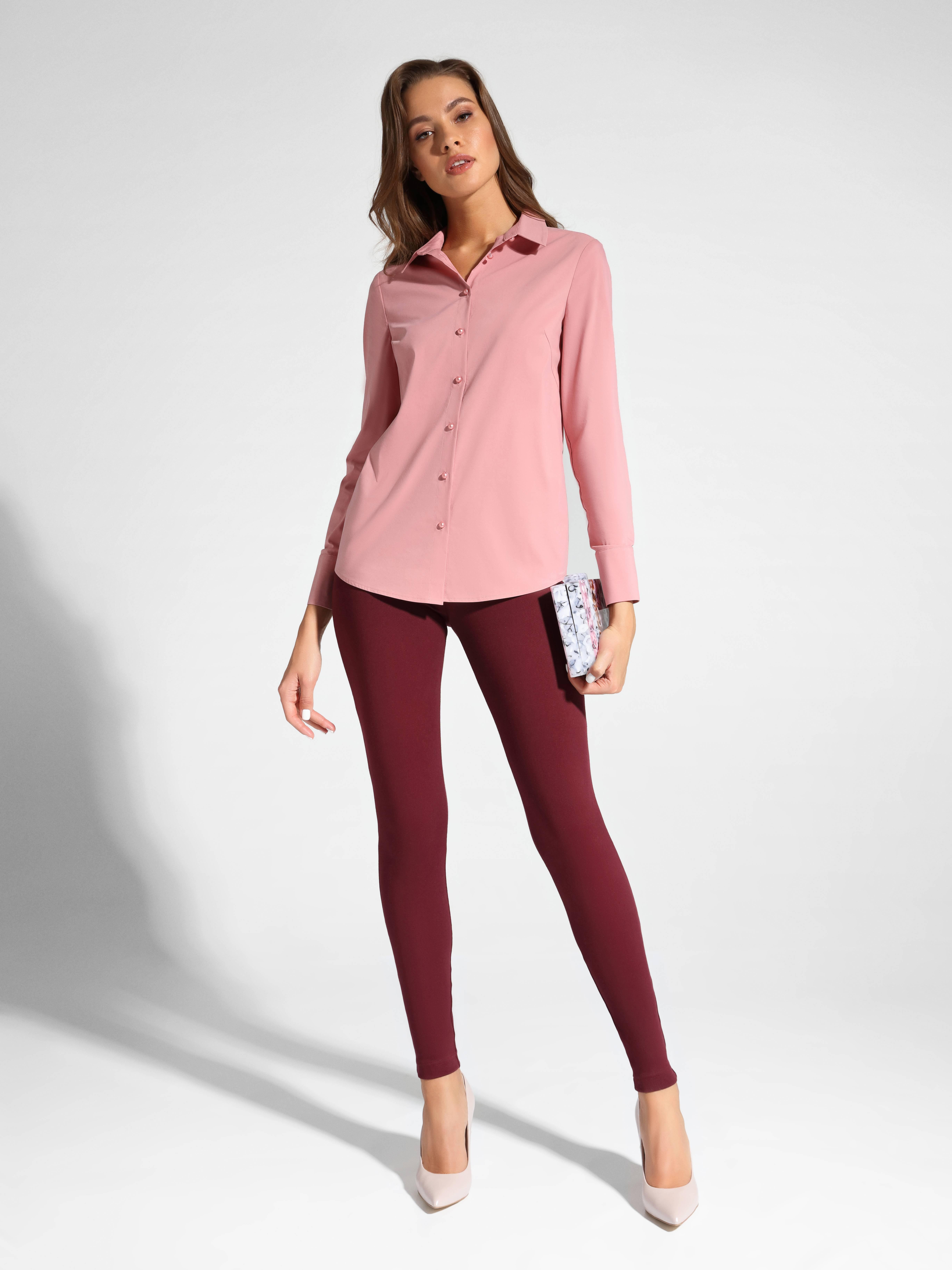Блузка женская ⭐️ Классическая однотонная рубашка женская из хлопка LBL 1041 цвета пыльной розы ⭐️