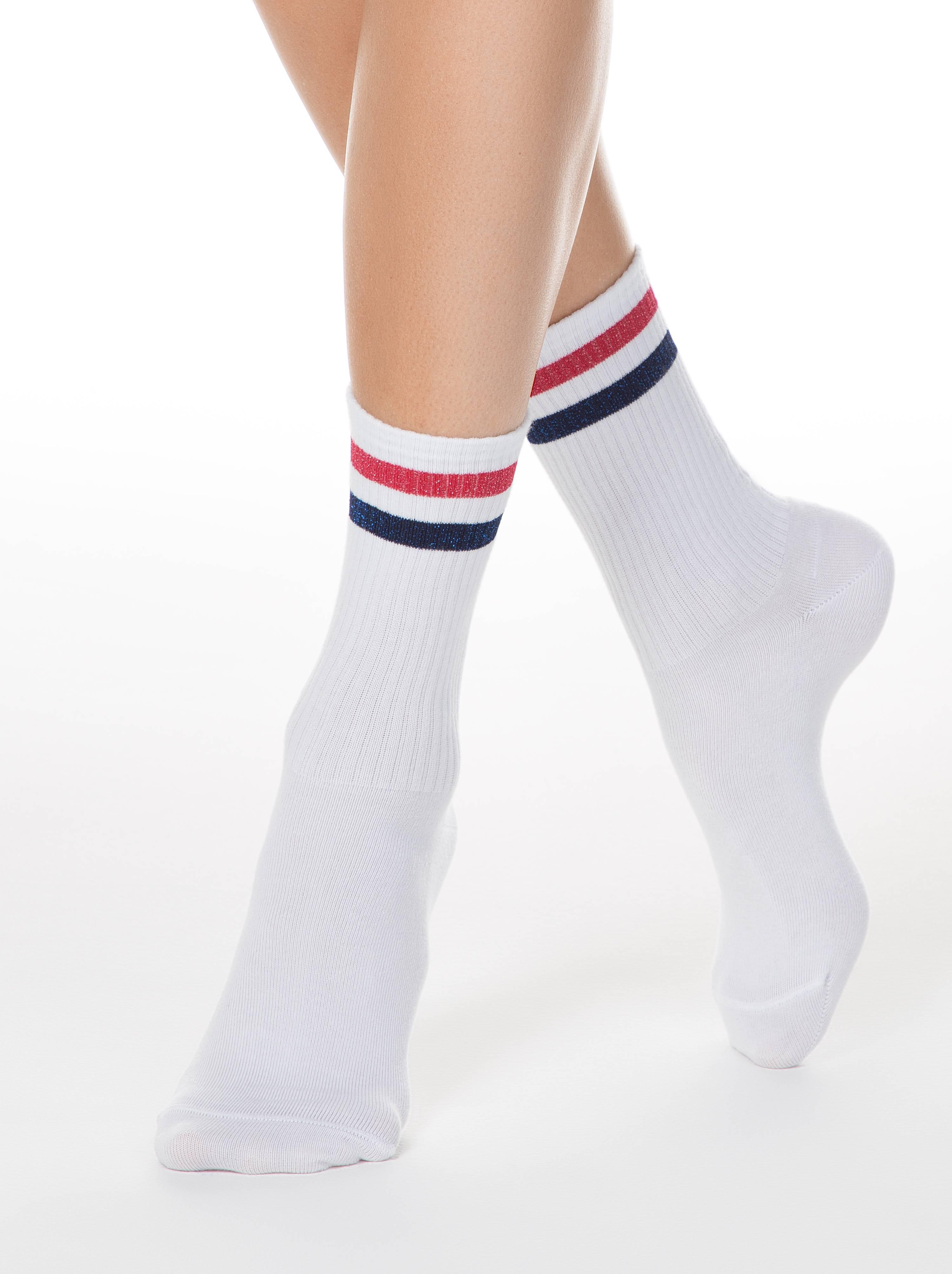 Фото - Носки женские ⭐️ Удлиненные хлопковые носки ACTIVE с яркими полосками из люрекса ⭐️ белый-светло-розового цвета