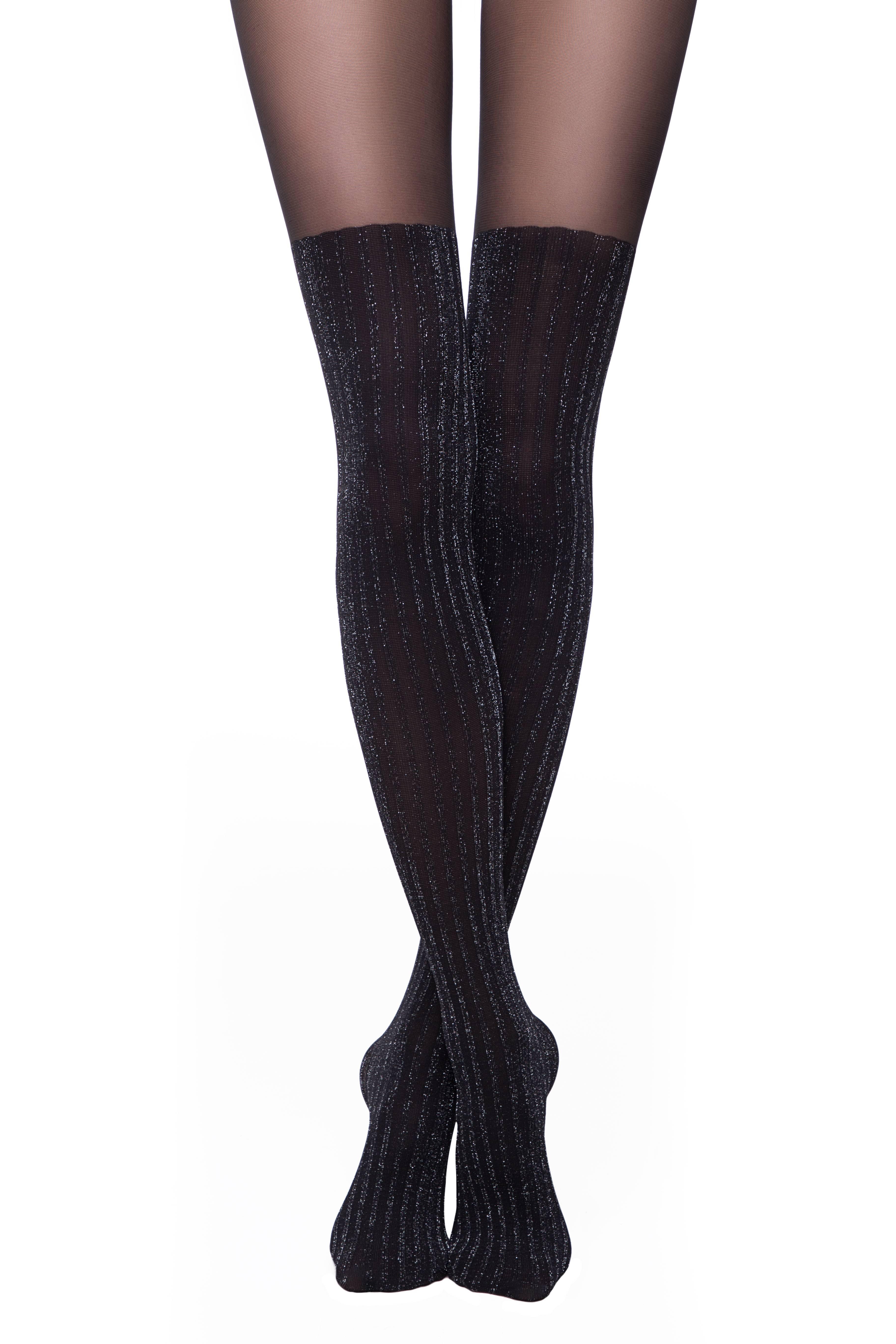 Колготки женские ⭐️ Колготки с имитацией чулок с блестящими полосками DIOS Lycra® ⭐️