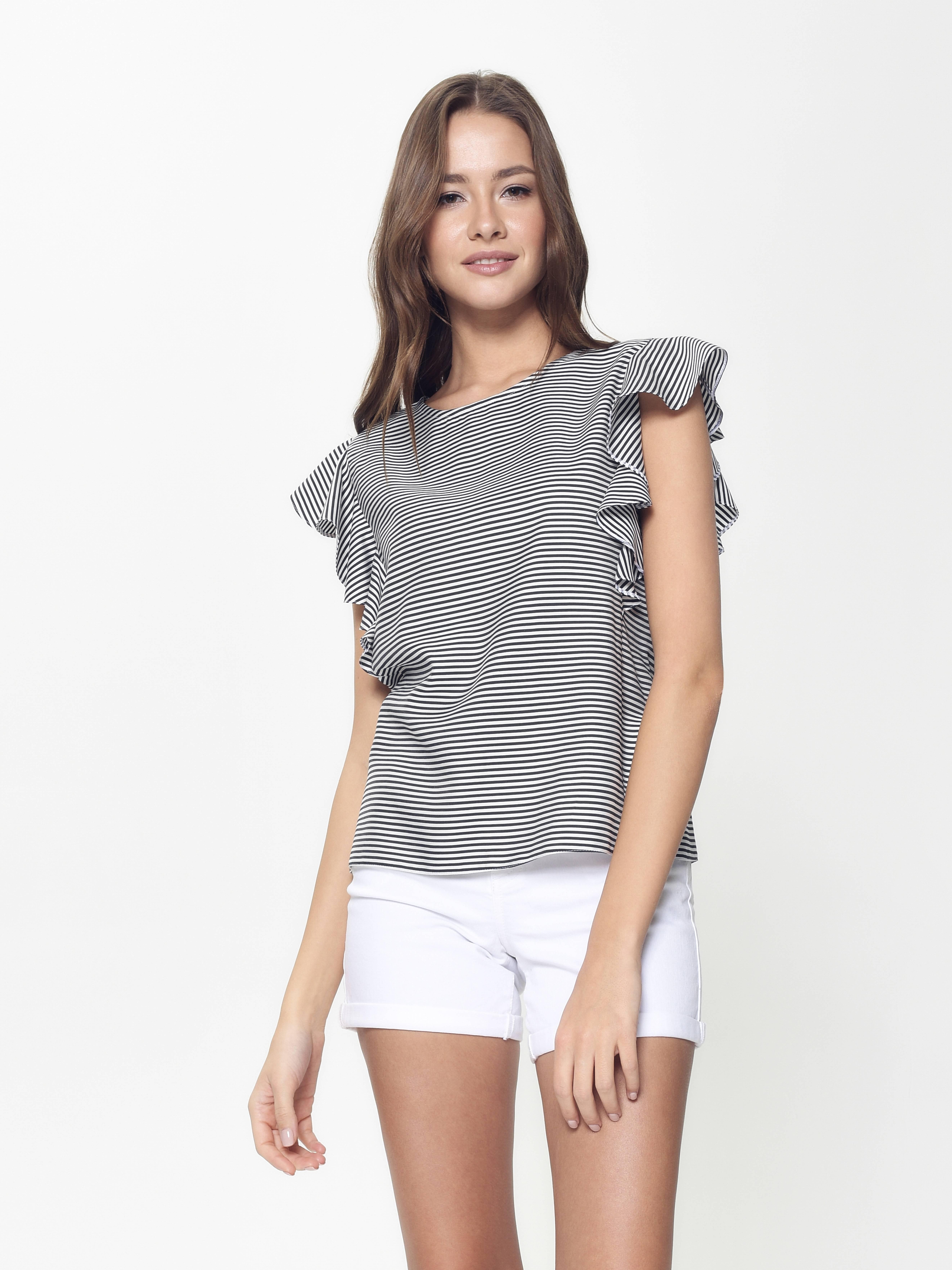 Блузка женская ⭐️ Ультрамодная шелковистая блузка с воланами LBL 909 ⭐️