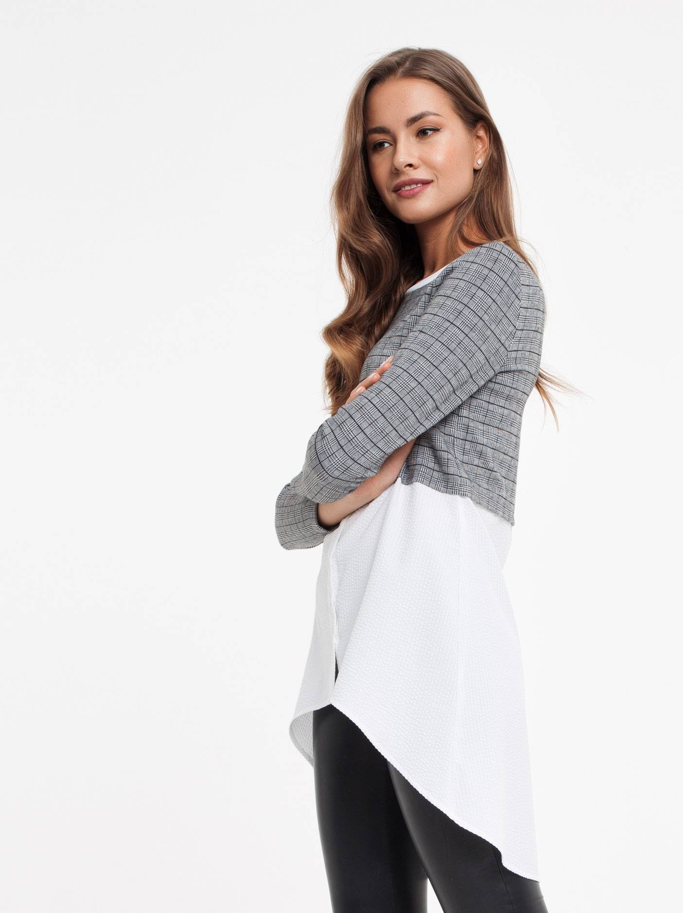 00f06435947 ᐅ Купить стильная туника с имитацией рубашки 830 цвет grey 🛍 в ...