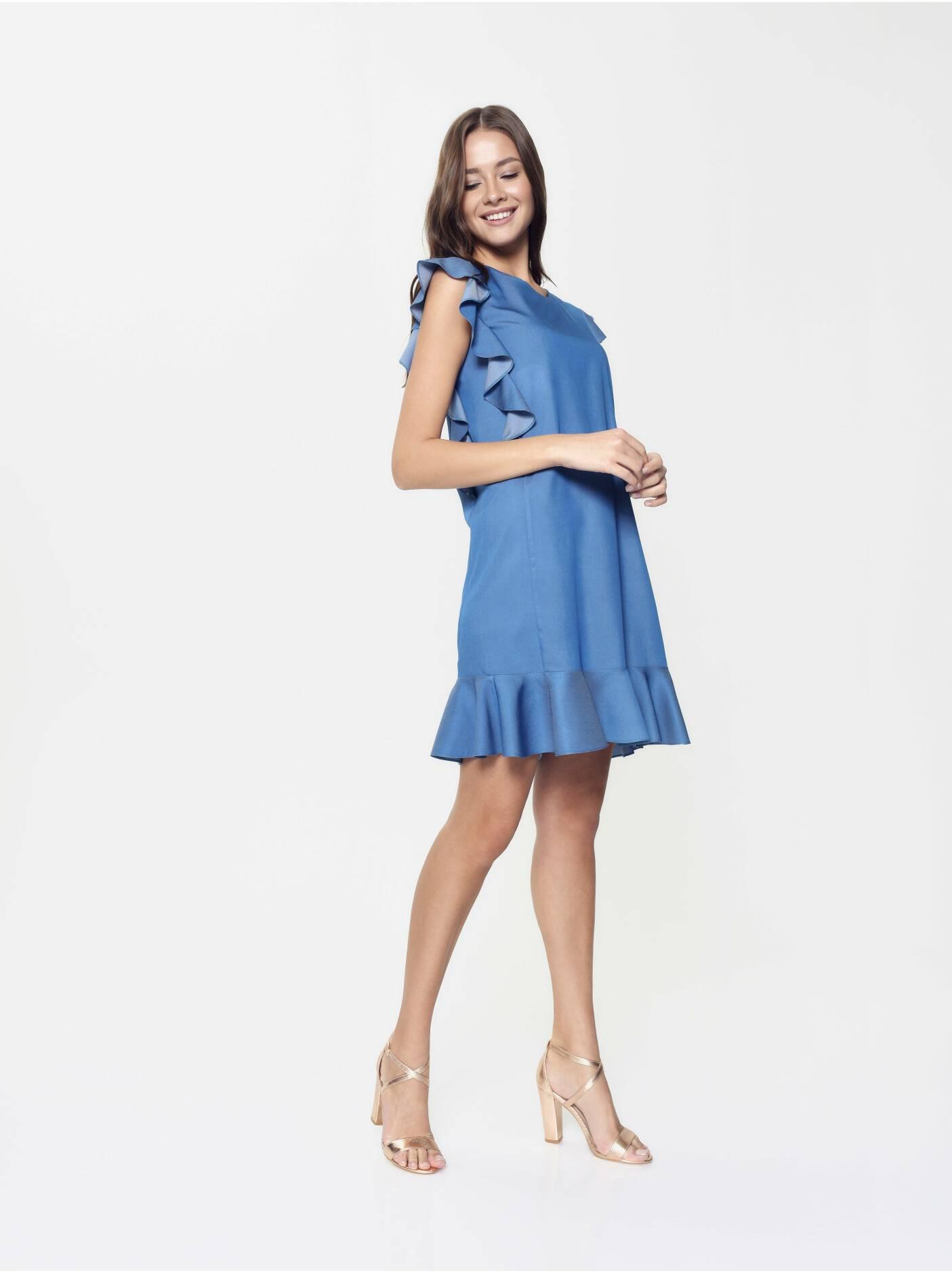 016681ece ... платье женское джинсовое платье а-силуэта с воланами LPL 905  18С-656ТСП, размер ...