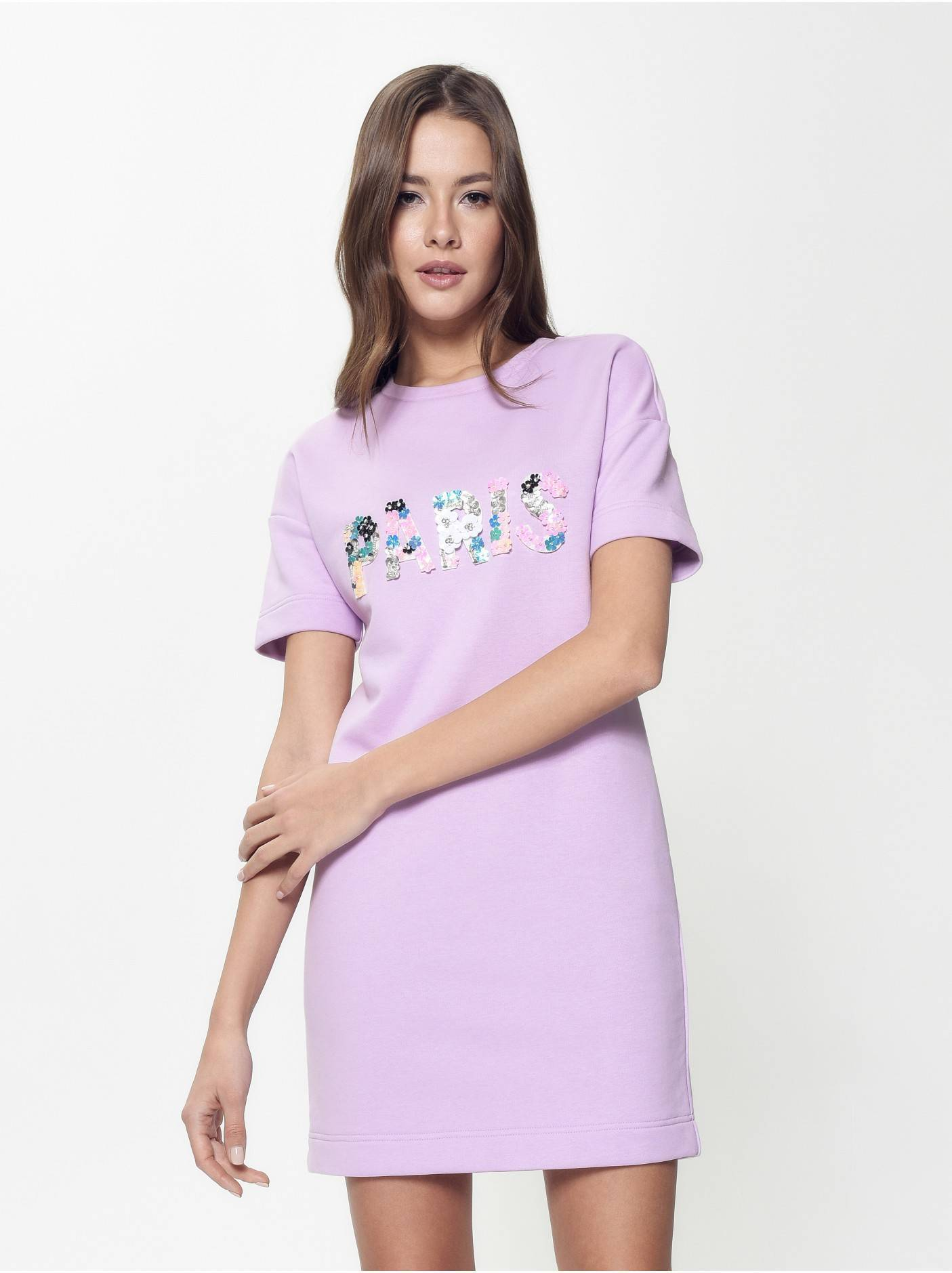 5500cf6c310 ... платье женское ультракомфортное платье а-силуэта с аппликацией LPL 898  18С-649ТСП