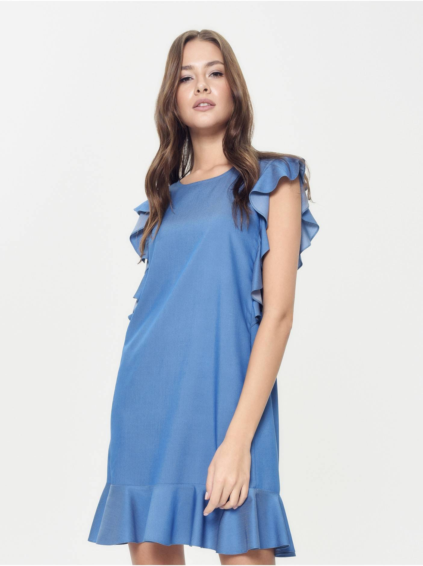 2b075f06ada платье женское джинсовое платье а-силуэта с воланами LPL 905 18С-656ТСП