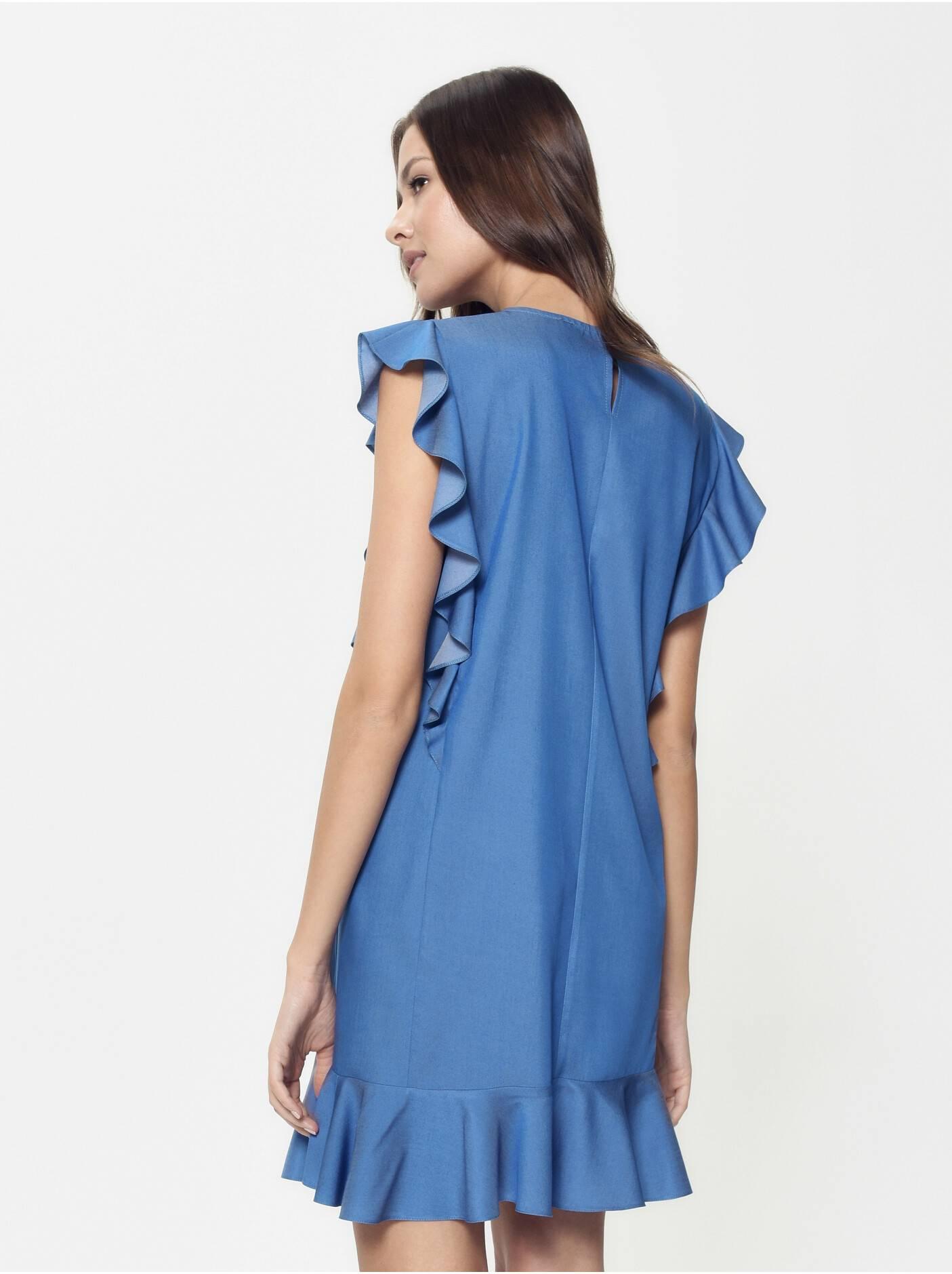 c0eb945609e ... платье женское джинсовое платье а-силуэта с воланами LPL 905  18С-656ТСП