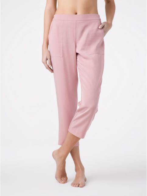 ᐅ Купить укороченные брюки с эффектом ощущение шелка BELLA VISTA для девушек в Минске цвет dusty rose ?️ в интернет магазине с доставкой по Беларуси