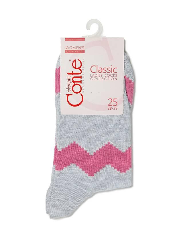 Носки хлопковые женские CLASSIC (люрекс) 15С-21СП, р. 36-37, серый-розовый, рис. 065 - 3
