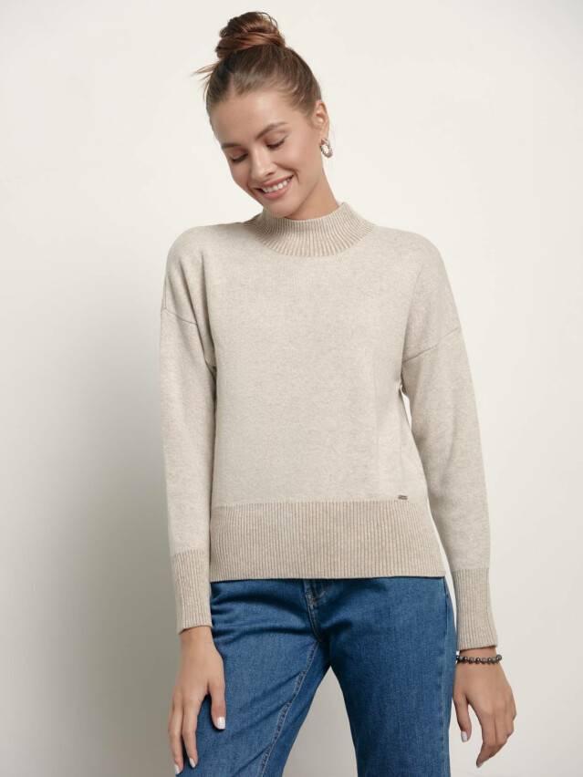 ᐅ Купить свитер с разрезами по бокам из пряжи с вискозой и кашемиром LDK 155 в Минске цвет beige ?️ в интернет магазине с доставкой по Беларуси