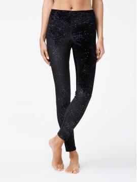 леггинсы женские черные бархатные леггинсы с металлическими блестками STAR 18С-562ТСП, размер 164-102, цвет nero