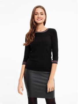 Джемпер женский Ультрамодный джемпер в рубчик с контрастными манжетами и мерцающим блеском 835-1 18С-531ТСП, размер 170-100, цвет nero