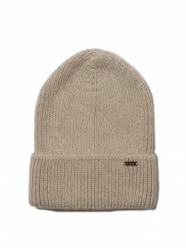 шапка женская вязаная шапочка-бини из пряжи с мохером и шерстью 18С-201СП, размер 54-56, цвет бежевый
