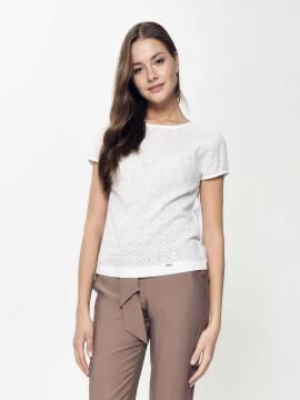 блузка женская фактурная кружевная блузка с приспущенным плечом LBL 916 18С-667ТСП, размер 170-100-106, цвет off-white