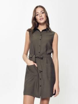 платье женское платье-рубашка без рукавов с легким блеском LPL 915 18С-666ТСП, размер 170-84-90, цвет khaki