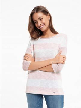 Джемпер женский Удлиненный джемпер в широкую полоску 832 18С-519ТСП, размер 170-100, цвет milky-pink