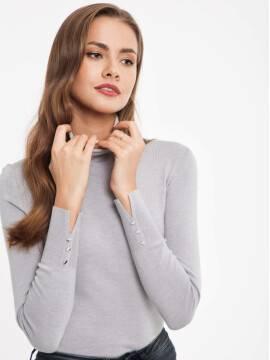 свитер из пряжи с вискозой премиального качества 026 17С-86СП, размер 158,164-84, цвет серый