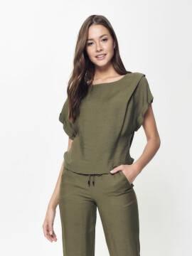 блузка женская стильная блузка с легким мерцанием LBL 912 18С-663ТСП, размер 170-100-106, цвет khaki