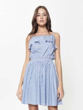 платье женское ультрамодное платье в полоску на тонких бретелях LPL 911 18С-662ТСП, размер 170-84-90, цвет white-blue