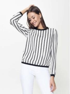 блузка женская легкая блузка в полоску LBL 899 18С-650ТСП, размер 170-100-106, цвет black-white stripes