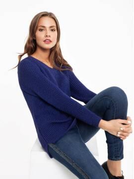 экстрамягкий удлиненный пуловер с объемной вязкой и мерцающим блеском 040 18С-62СП, размер 170-84, цвет мультиколор