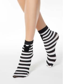 носки женские полосатые носки с аппликацией из флока ©disney 60 18С-233СПМ, размер 23-25, цвет bianco-nero