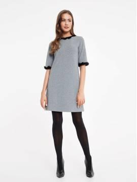Платье женское Платье А-силуэта с металлическим блеском и декором из меха 848 18С-535ТСП, размер 170-84-90, цвет grey
