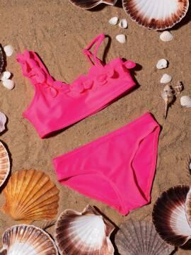 купальник детский купальник на одно плечо SUNSET , размер 122,128-60, цвет neon pink
