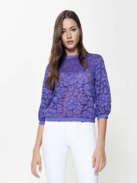 джемпер женский кружевной джемпер с объемными рукавами LD 904 18С-655ТСП, размер 170-100, цвет lilac bluish