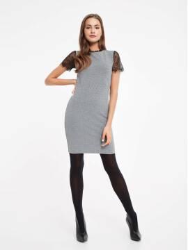 Платье женское Платье-футляр с металлическим блеском и рукавами из кружева 849 18С-536ТСП, размер 170-84-90, цвет grey
