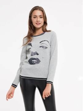 Джемпер женский Экстрамягкий свитшот с термоэффектом 842 18С-529ТСП, размер 170-100, цвет dark grey