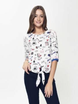 блузка женская стильная блузка с декоративной завязкой LBL 886 18С-637ТСП, размер 170-84-90, цвет white-ultramarine