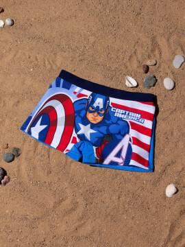 трусы купальные для мальчиков плавки CAPTAIN AMERICA с рисунками ©marvel , размер 52-45 (98),цвет brave blue