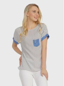 Джемпер женский Блузка LBL 724 17С-365ТСП, размер 170-84-90, цвет белый-голубой
