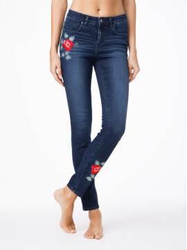 джинсы женские fashion ультрамодные джинсы с вышивкой CON-53 CON53, размер 170-102, цвет темно-синий