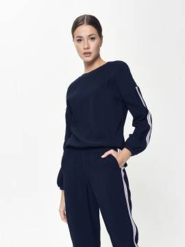 блузка женская блузка с трендовыми лампасами LBL 931 18С-682ТСП, размер 170-84-90, цвет dark navy